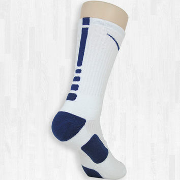 White/Navy Elite Socks | Rock 'Em Apparel