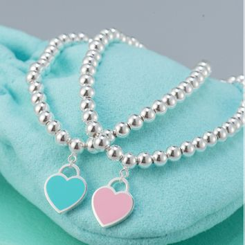 Tiffany 925 pure silver round bead bracelet beads string beads enamelled peach heart heart care bracelet