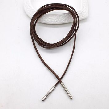 Women's Brown Faux Leather Lariat Layered Choker/Tie Necklace Silver Tone