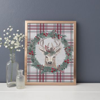 Reindeer Wreath Rustic Christmas Wall Art Print