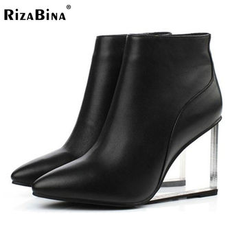 RizaBina womens shoes transparent wedges high heels ankle boots pointed toe high heels boots winter black shoes woman size33-41