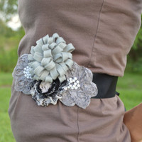White, Grey, Black Maternity Sash/ Flower girl sash/ Pageant sash
