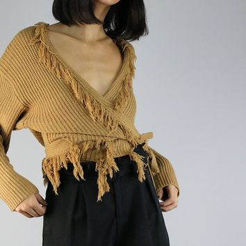 Wrap Sweater Top with Fringe Tassel Detail