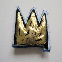 Basquiat pop art sculpture New York crown gold black gift graffiti art home decor gift made in italy birthday gift graduation man woman gift