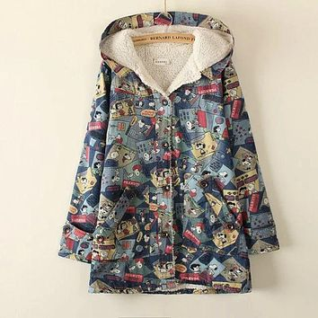 2017 Summer Autumn Women's Multiple Animal Cartoon Print Long Sleeve Hooded Thin Denim Jacket College Wind Mori Girl