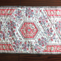 Patchwork quilted table runner, moda French General border fabric, country chic table topper