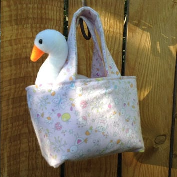 Teeny Tote Bag with Graceful Swan Beany Toy in Pink Flannel Baby Animal Floral