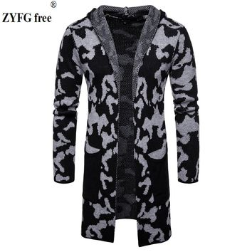 Men's Casual Brand sweater High Quality Men Winter Hooded Sweater Coat Fashion veste longue homme Stitching Cardigan EU size