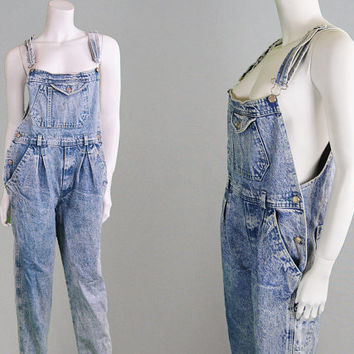 b652f7625b70 Vintage 80s 90s Acid Wash Dungarees Womens Dungarees Long Overalls Denim Jumpsuit  90s Grunge Denim Playsuit