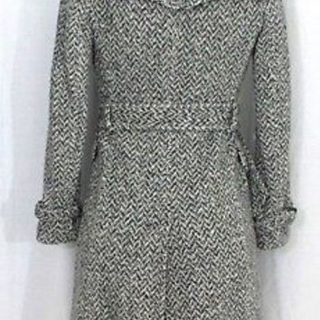 Banana Republic XS Black White Herringbone Wool Blend Trench Coat Double Breast