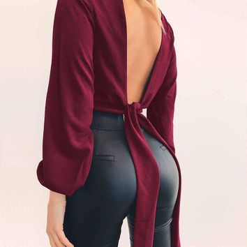CREYLD1 2018 Spring Sexy Women Blouse Deep Veck Backless Bow Shirts Solid Summer Women Crop Tops Clubwear Long Sleeve Nightclub Wear