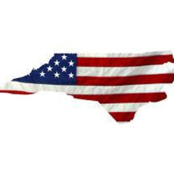 State of North Carolina Realistic American Flag Window Decal - Various Sizes
