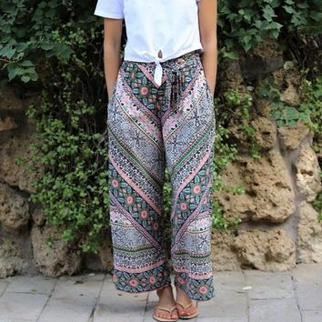 Angie Wide Boho Short Side Slit Pants - Green Pink