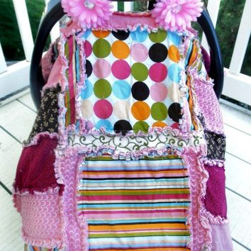 CAR SEAT TENT, Pink, Turquoise, Brown, Polka Dot, Stripe Rag Quilt, Made to Order