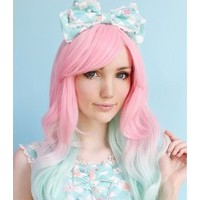 22 Inches Wavy Capless Pink Top Quality High Heated Fiber Ombre Wigs : fairywigs.com