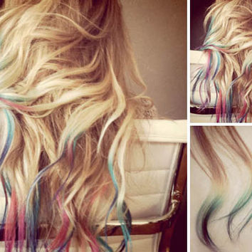 RAINBOW Tip Ombre Hair Extensions // Deluxe by WarriorsOfCulture
