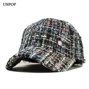 Trendy Winter Jacket USPOP 2018 newest women fashion t baseball cap female casual retro plaid visor cap Letter M winter thick warm hat AT_92_12