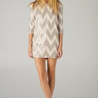 Taupe Zig-Zag Sequin Shift Dress