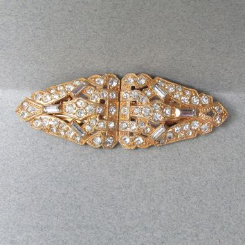 Vintage 1930's Art Deco Signed CORO Gold Washed Rhinestone Duette, 2 Dress Clips Brooch