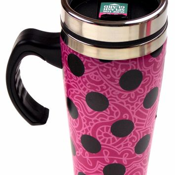 Pink Polka Dot Coffee Travel Mug 16oz Stainless