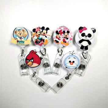 1Pcs/lot Resin lovely Cartoon animal Retractable Badge Reel Best selling Bus card student nurse ID Name Card Badge Holder Office