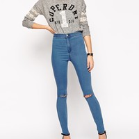 ASOS Rivington Jean Jegging In Serge Mid Blue With Two Ripped Knees