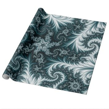Cyan and white fractal pattern. wrapping paper