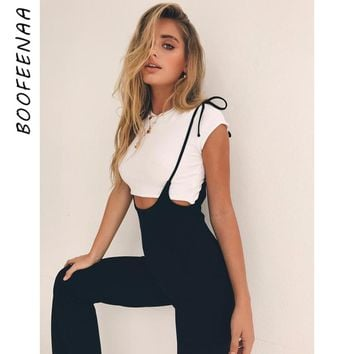 BOOFEENAA Black High Waist Wide Leg Pants Casual Lace Up Overalls Women Pant 2019 Summer Fashion Flare Trousers C34-AA27