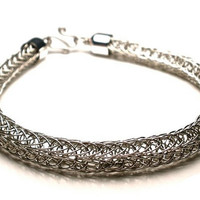 Men's Double Viking Knit Thickly Woven Bracelet in Silver
