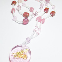 Light Pink Glass Round Focal with Gold Foil Beadwork Statement Necklace