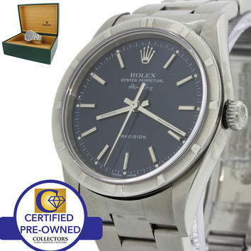 2002 Rolex Oyster Perpetual Air-King Blue 14000 34mm Precision Watch 14010M wBox