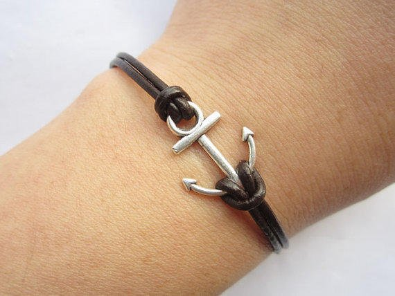Braceletantique silver little anchor&brown leather by lightenme
