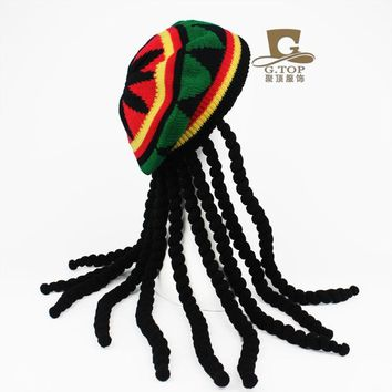 Fancy Dress Party Costume Hippie beret  Dreadlocks Wig jamaican rasta hat  Bob Marley Caribbean Fancy Dress Prop