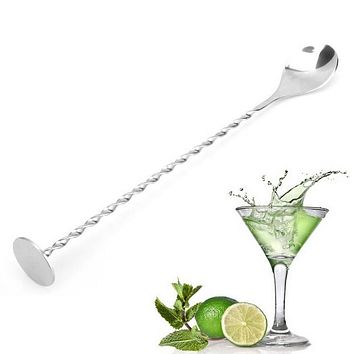 New Stainless Steel Threaded Bar Spoon Swizzle Stick Coffee Cocktail Mojito Wine Spoons Barware Bartender Tools Free Shipping F2