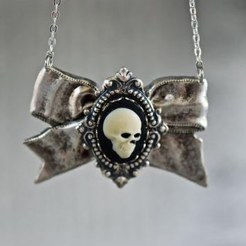 NEW - Mr Skull Take A Bow Necklace - Gothic Zombie Skull Cameo - SOLDERED - Made in USA Components