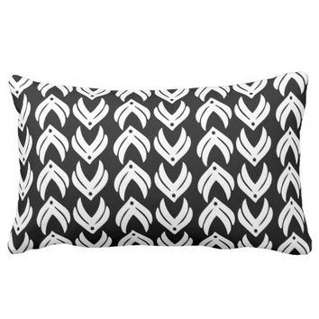 Black and white tribal style pattern throw pillow