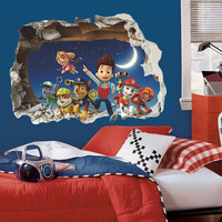 American popular cartoon animal smart dog boy windown wall sticker for kids room decorative baby children bedroom nursery decal