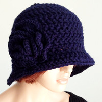 Crochet Cloche. 1920s High Fashion Inspired Hat. Navy Blue Flowered Cloche