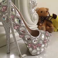 Diamond Crystallized Pumps Bridal Wedding Sparkly Shoes