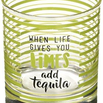 Livin on the Wedge Limes or Lemons When Life Gives You Limes Add Tequila Green Striped Whiskey Glass 10 oz Green