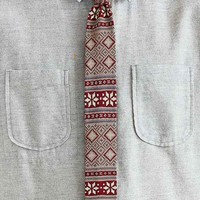 Knit Fair Isle Tie- Red One