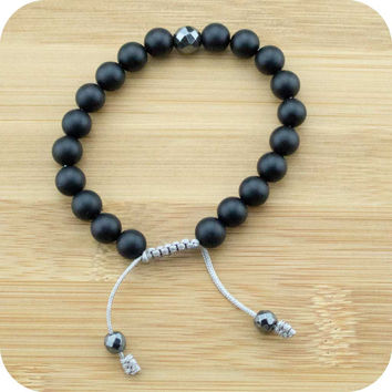 Matte Black Onyx Yoga Beads Bracelet with Faceted Hematite Guru