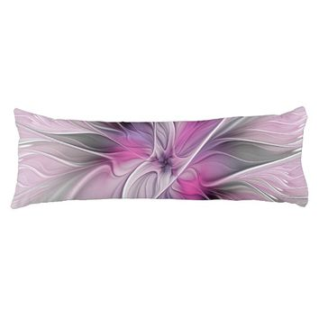 Floral Fractal Modern Abstract Flower Pink Gray Body Pillow