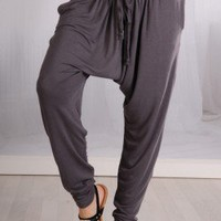 CHARCOAL DROP CROTCH DRAW STRING PANTS