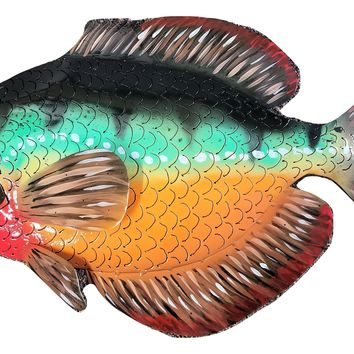 "Hand Crafted 32"" sun perch #4 painted metal fish wall hanging art"