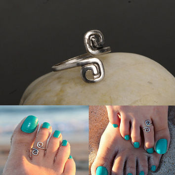 Silver Double Twist Design Foot Ring