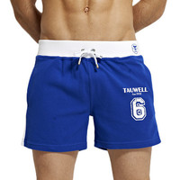 Mid Thigh Cotton Jogging Shorts with Side and Waist Stripes