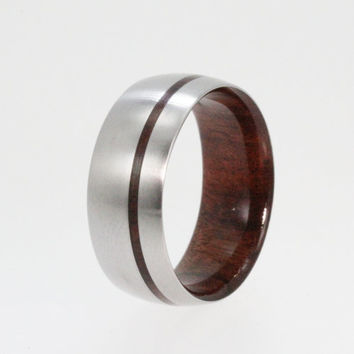 Wooden Ring - Inner Bolivian Rose Wood Sleeve and Pinstripe Inlay