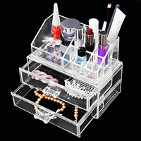 LUCKYFINE Acrylic Container Makeup Case Cosmetic Storage Holder Organizer