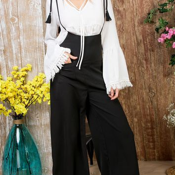 Control Yourself Black Sleeveless Spaghetti Strap Tassel Wide Leg Loose Overall Jumpsuit